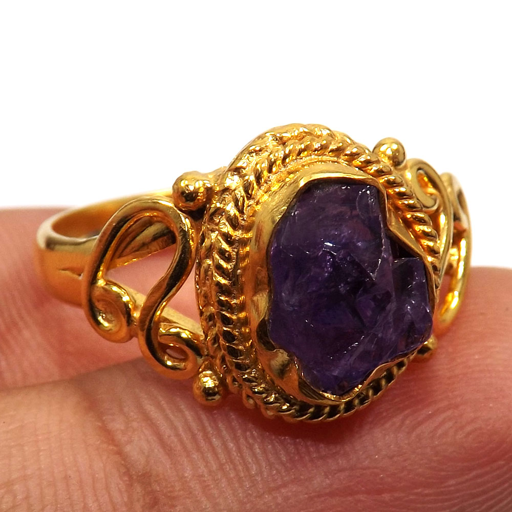 Amethyst Rough A - BDR997-Natural Rough Stone Made In Brass Gold Plated Handmade Designer Ring
