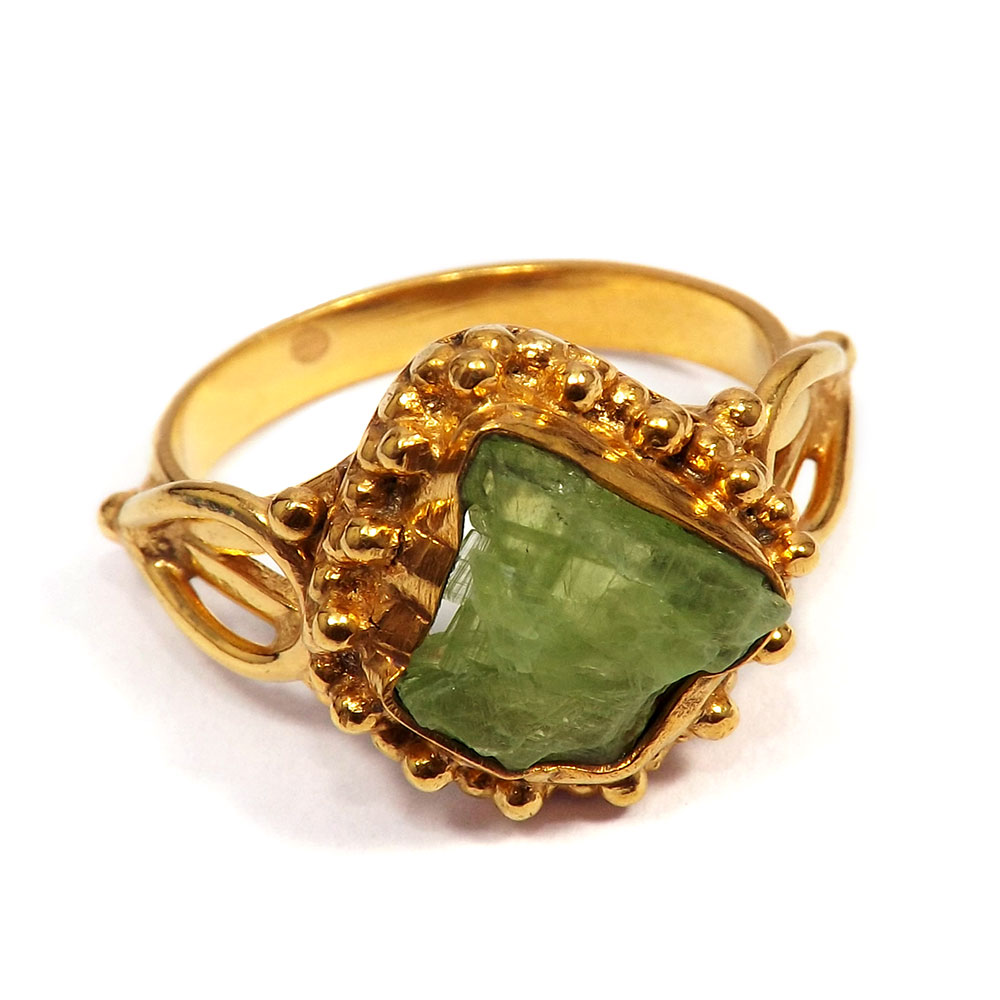 Green Kyanite Rough - A BRR895 - Indian Factory Made Green Kyanite Rough Stone Gold Plated Brass Designer Ring