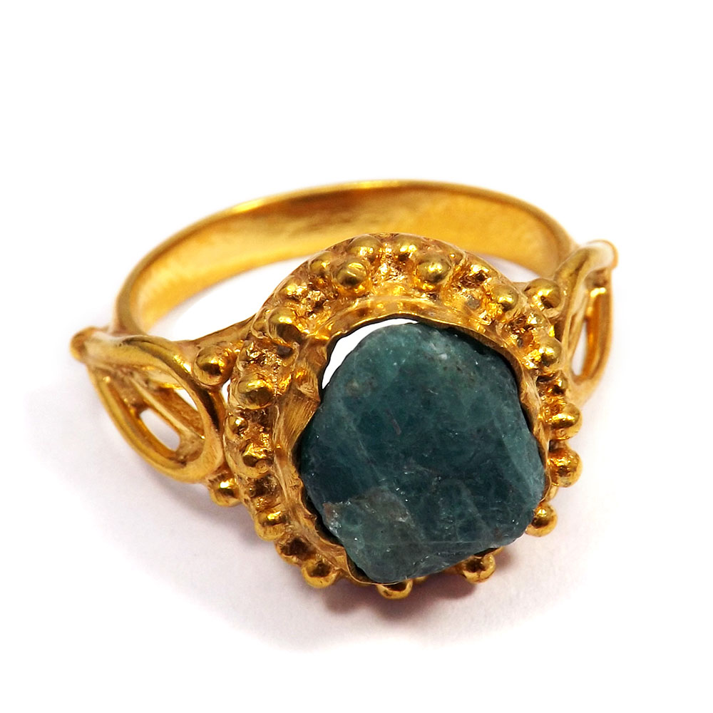 Apatite Rough - B BRR895 - Natural Apatite Rough Made In Brass Gold Plated Handmade Designer Ring