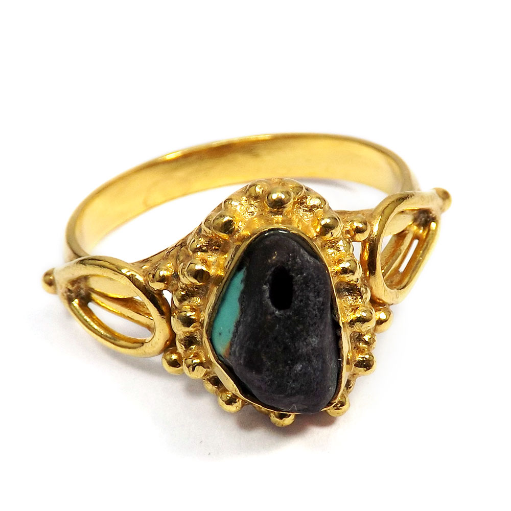 Tibet Turquoise Rough - C BRR895 - Latest Fashion Made In Brass Gold Plated Designer Rough Stone Ring