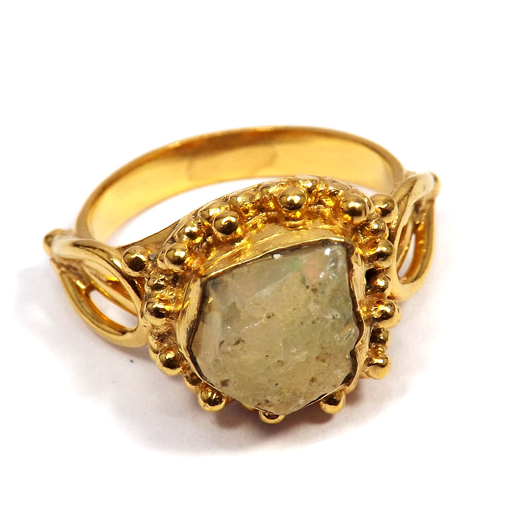 Ethiopian Opal Rough - E BRR895 - Natural Ethiopian Opal Rough Stone Made In Brass Gold Plated Handmade Ring