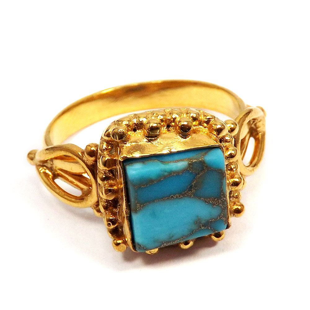 Blue Copper Turquoise Rough - F BRR895 - Indian Company Made Blue Copper Turquoise Rough Stone Designer Ring