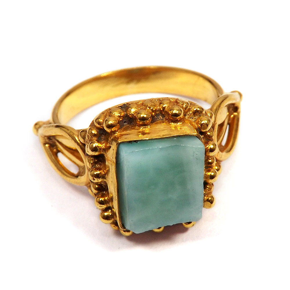 Gorgeous Larimar gemstone ring surrounded handcrafted Brass floral pattern.