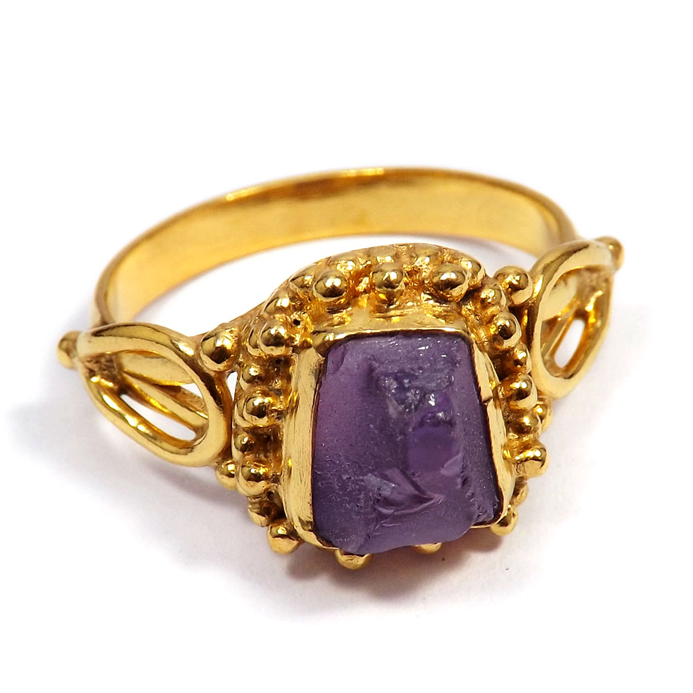 Amethyst Rough - H BRR895 - Indian Factory Made Amethyst Rough Stone Gold Plated Brass Designer Ring