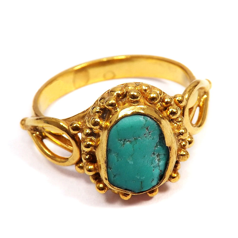 Tibet Turquoise Rough - I BRR895 - Gorgeous Look Gold Plated Brass Tibet Turquoise Rough Stone Handmade Ring