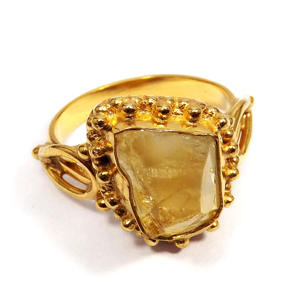 Citrine Rough - O BRR895 - Party Wear Made In Brass Gold Plated Citrine Rough Stone Designer Ring