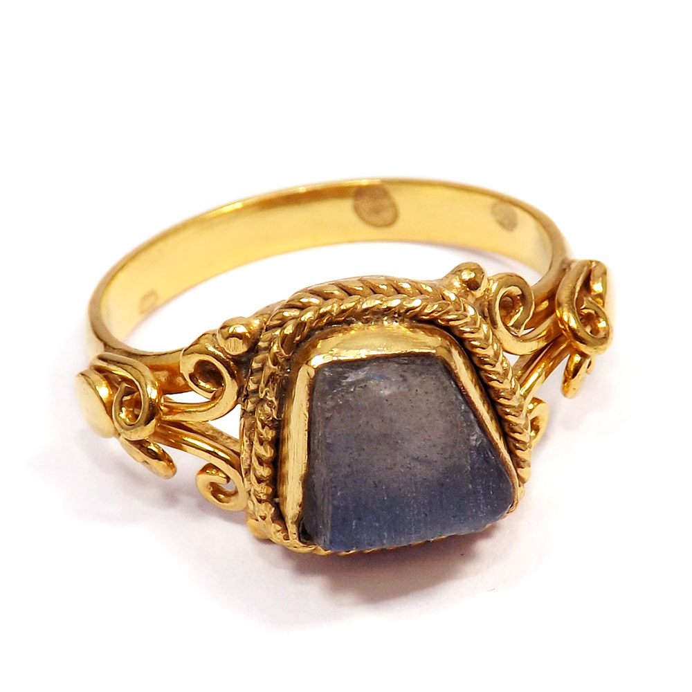 Labradorite Rough - F BRR896 - Newly Design Blue Fire Labradorite Rough Gold Plated Brass Designer Ring