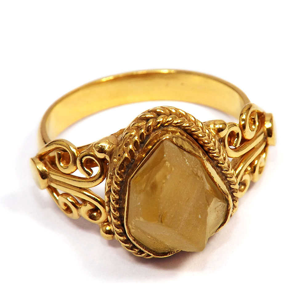 Citrine Rough - G BRR896 - Pretty Look Citrine Rough Gemstone Made In Brass Gold Plated Ring