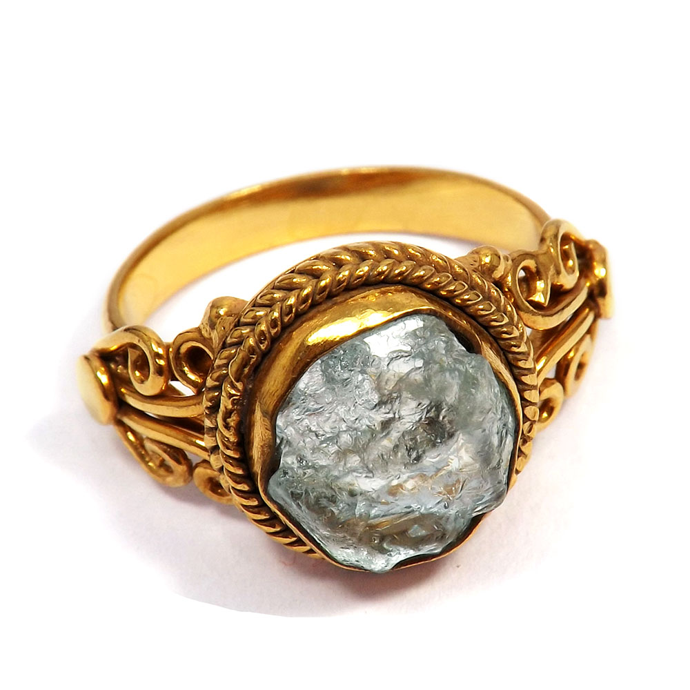Aquamarine Rough - H BRR896 - Fashionable Rough Stone Gold Plated Brass Designer Ring