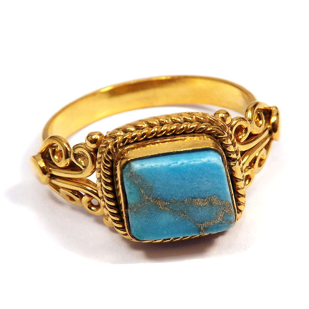 Blue Copper Turquoise Rough - Blue Copper Turquoise Rough Stone Gold Plated Wholesale Ring