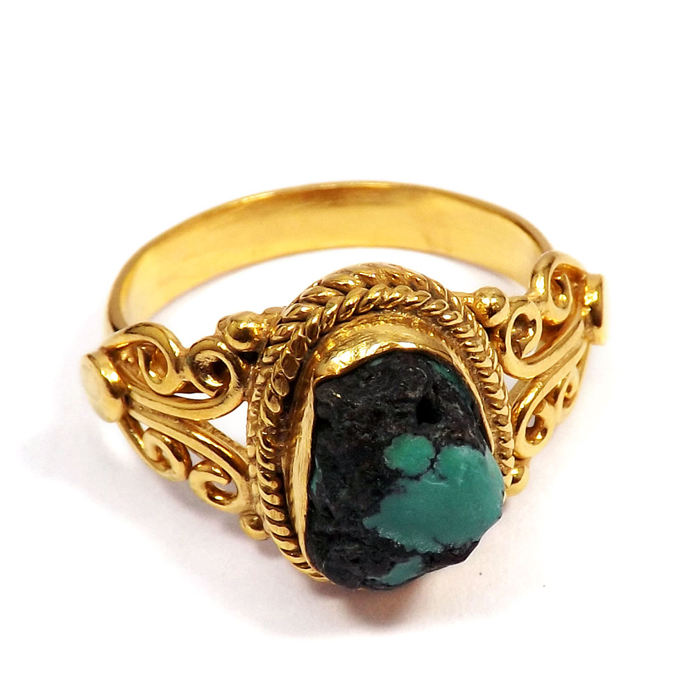 Tibet Turquoise Rough - O BRR896 - Stunning Look Tibet Turquoise Rough Made In Brass Gold Plated Designer Ring