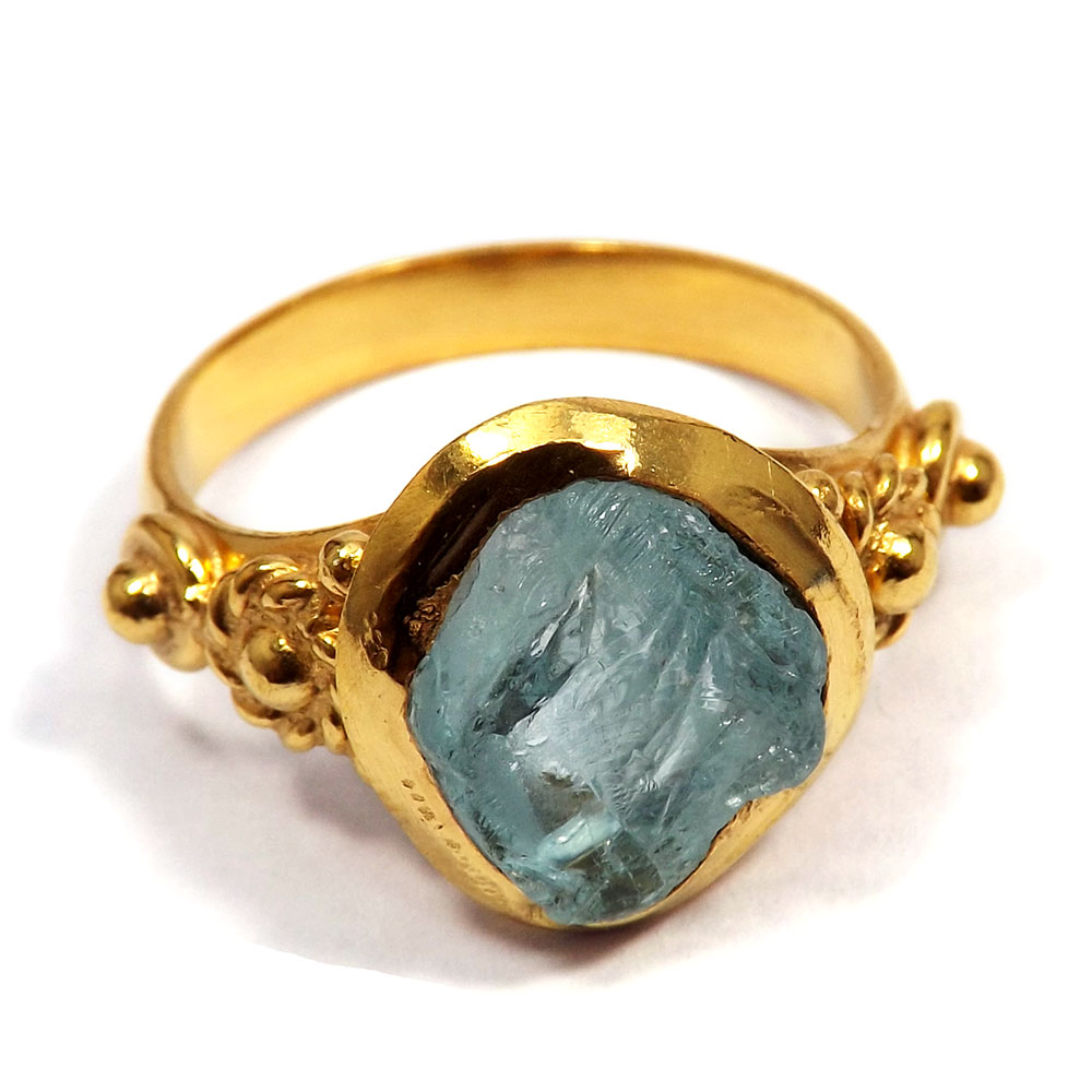 Aquamarine Rough - I BRR897 - Indian Factory Made Gold Plated Brass Aquamarine Rough Stone Ring