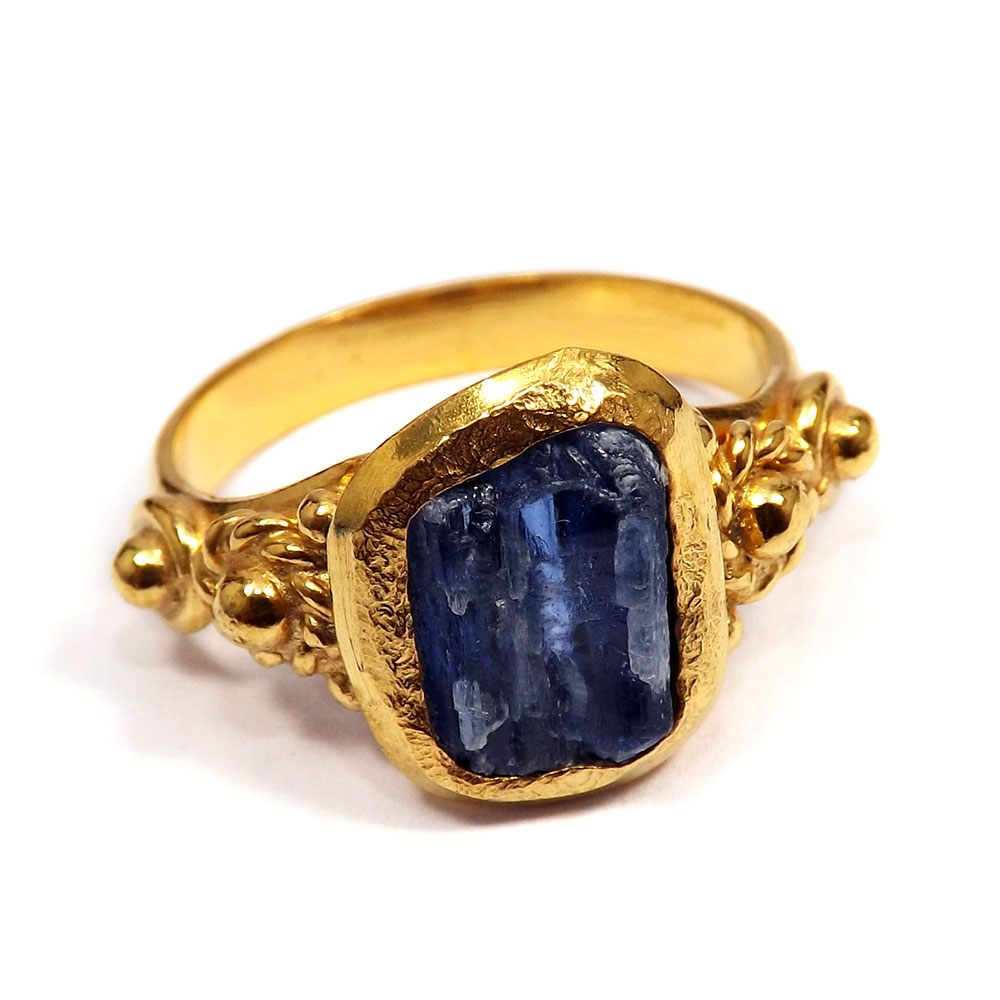 Kyanite Rough - O BRR897 - Newly Handmade Kyanite Rough Stone Made In Brass Gold Plated Wholesale Ring