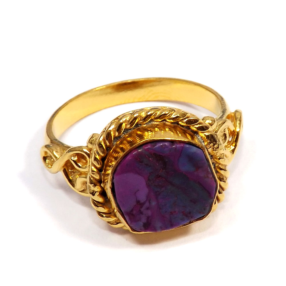 Purple Copper Turquoise Rough - A BRR900 - Natural Rough Gemstone Gold Plated Brass Designer Ring