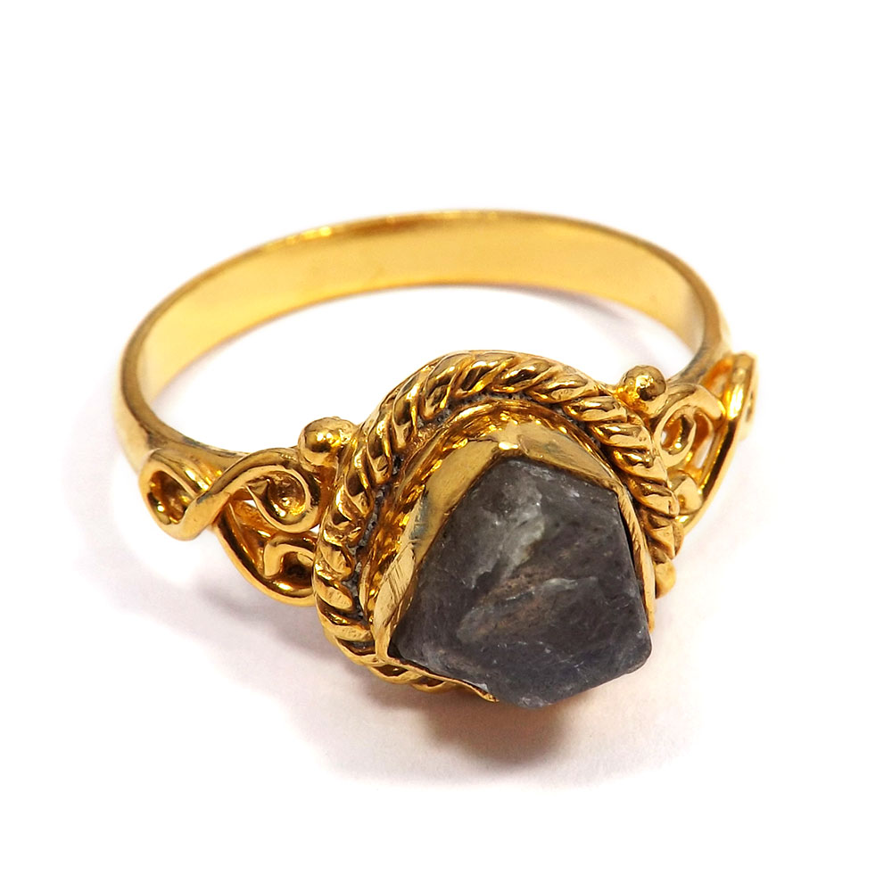 Labradorite Rough - C BRR900 - Labradorite Rough Stone Made In Brass Gold Plated Handmade Ring