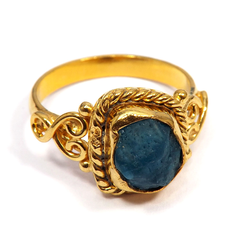 Apatite Rough - D BRR900 - Gorgeous Look Rough Stone Gold Plated Brass Wholesale Ring