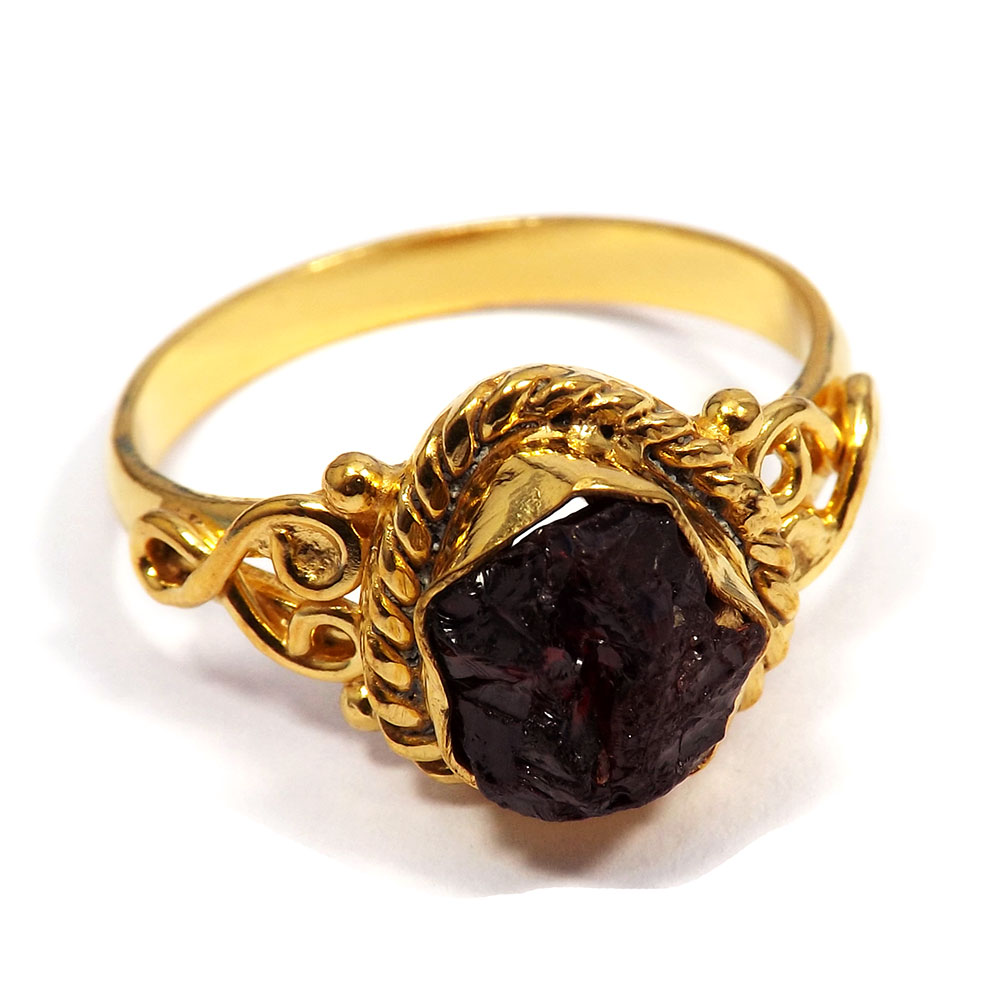 Garnet Rough - E BRR900 - Latest Collection Made In Brass Gold Plated Designer Ring