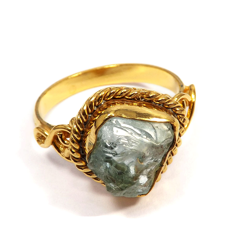 Aquamarine Rough - I BRR900 - Party Look Made Brass Gold Plated Aquamarine Rough Stone Ring