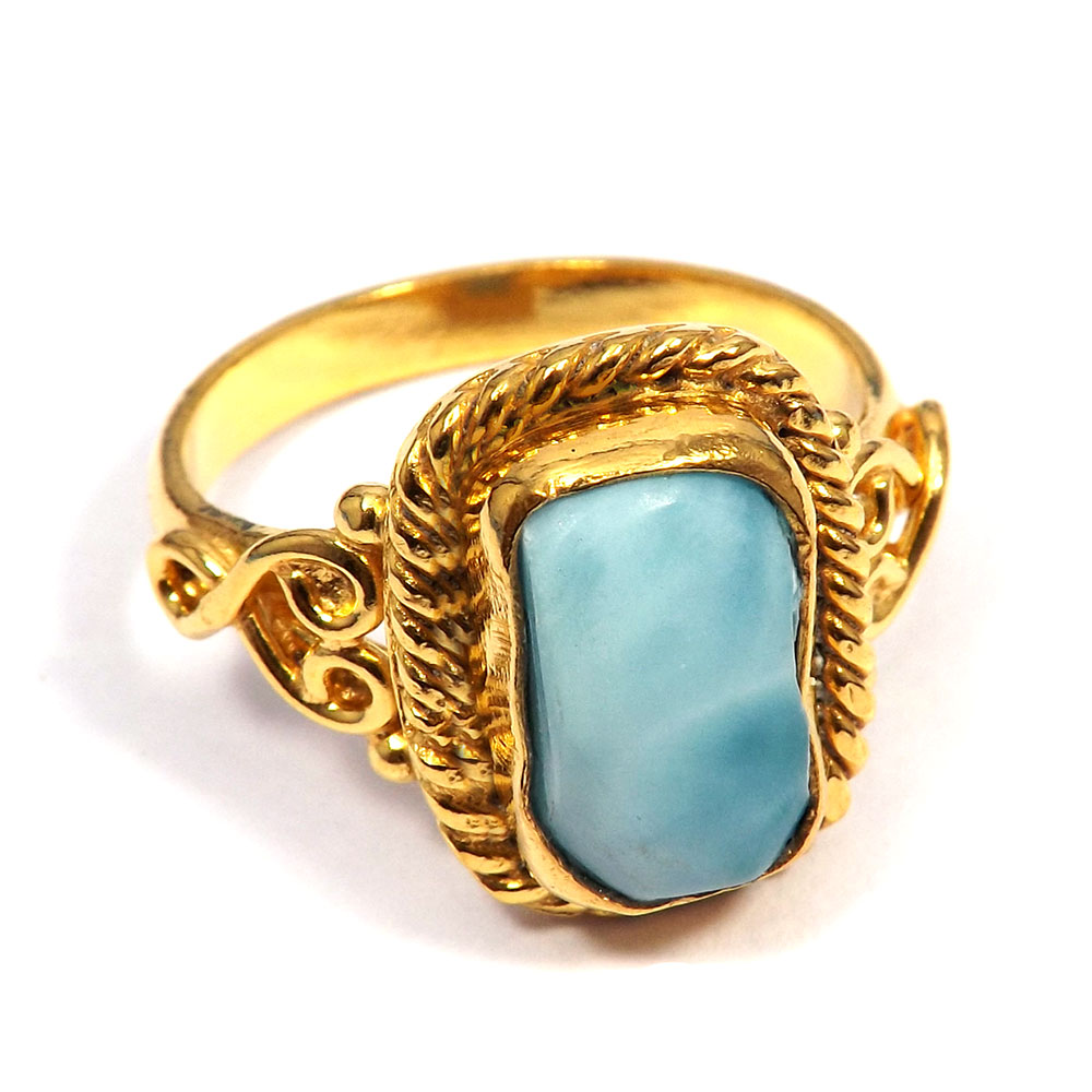 Larimar Rough - O BRR900 - Natural Larimar Rough Fancy Gold Plated Brass Designer Ring