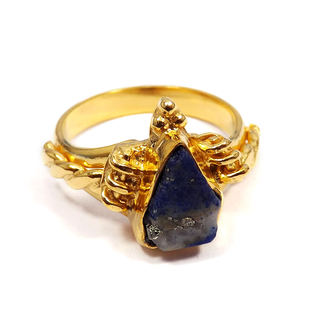 Azurite Rough - E BRR901 - Latest Newly Design Gold Plated Rough Stone Brass Ring