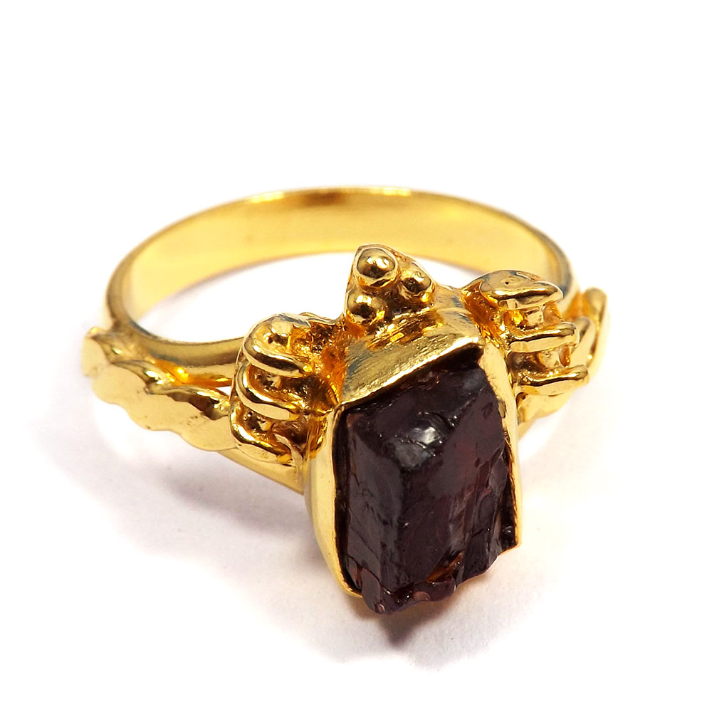 Garnet Rough - G BRR901 - Natural Garnet Rough Stone Gold Plated Brass Wholesale Ring