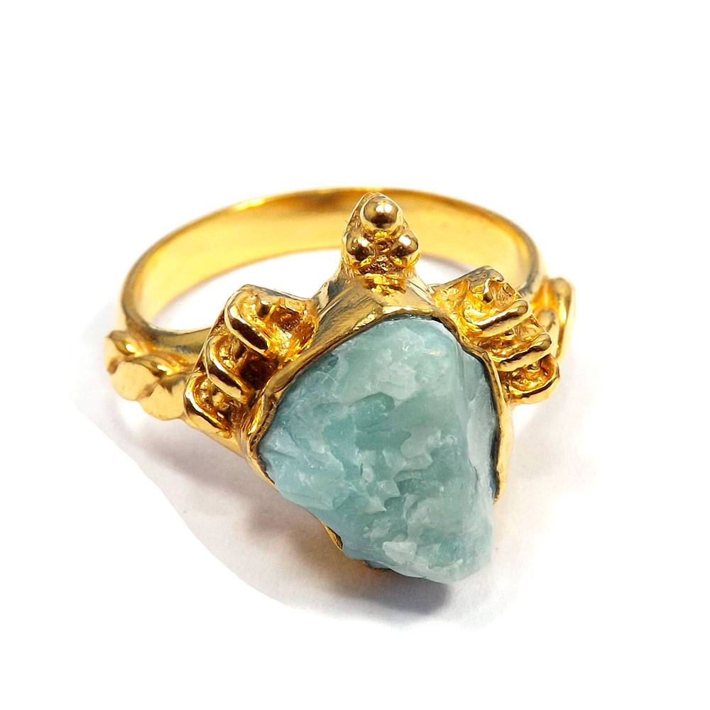 Larimar Rough - H BRR901 - Amazing Larimar Rough Stone Gold Plated Brass Handmade Ring