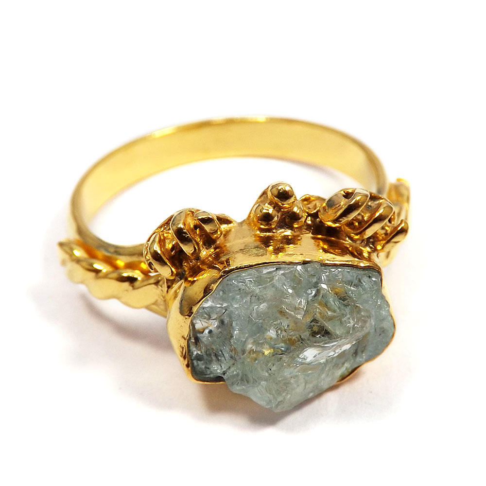 Aquamarine Rough - I BRR901 - Newly Arrival Made In Brass Gold Plated Aquamarine Rough Stone Fancy Ring