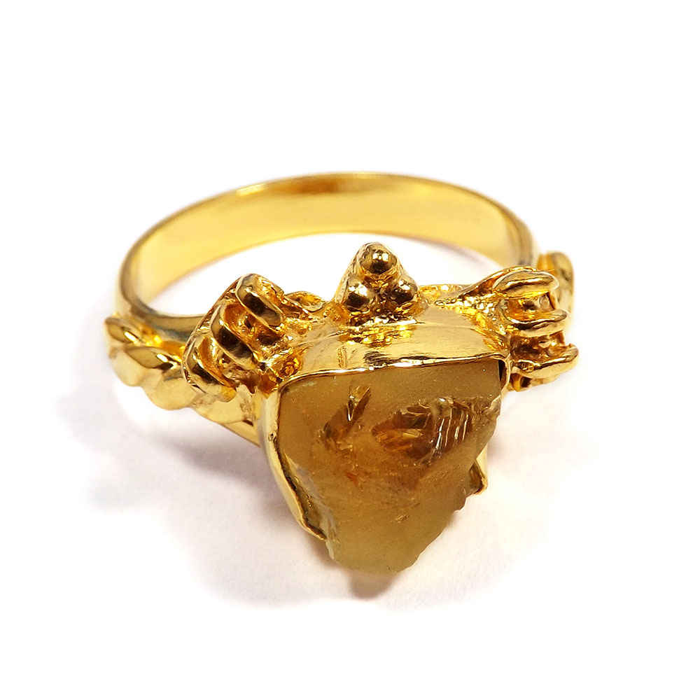 Citrine Rough - O BRR901 - Indian Factory Made Citrine Rough Gold Plated Brass Wholesale Ring