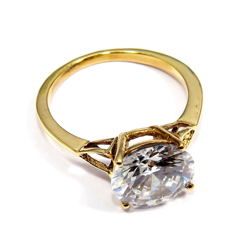 Cubic Zirconia Cut - I CBR965 - 10mm Round Cut Gold Plated Made In Brass Light Weight Ring