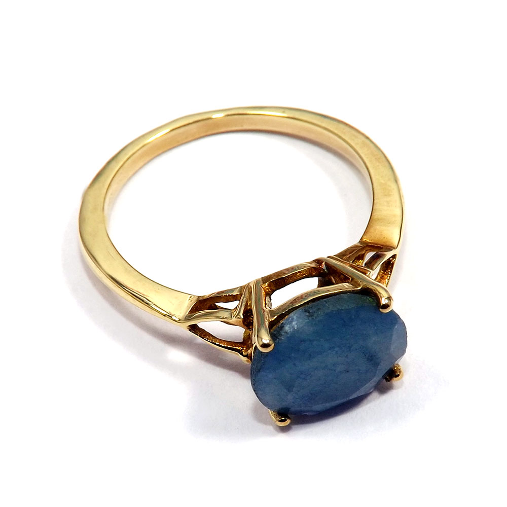 Sapphire Corundum - J CBR965 - Pretty Look Cut Gemstone Brass Gold Plated Casting Ring