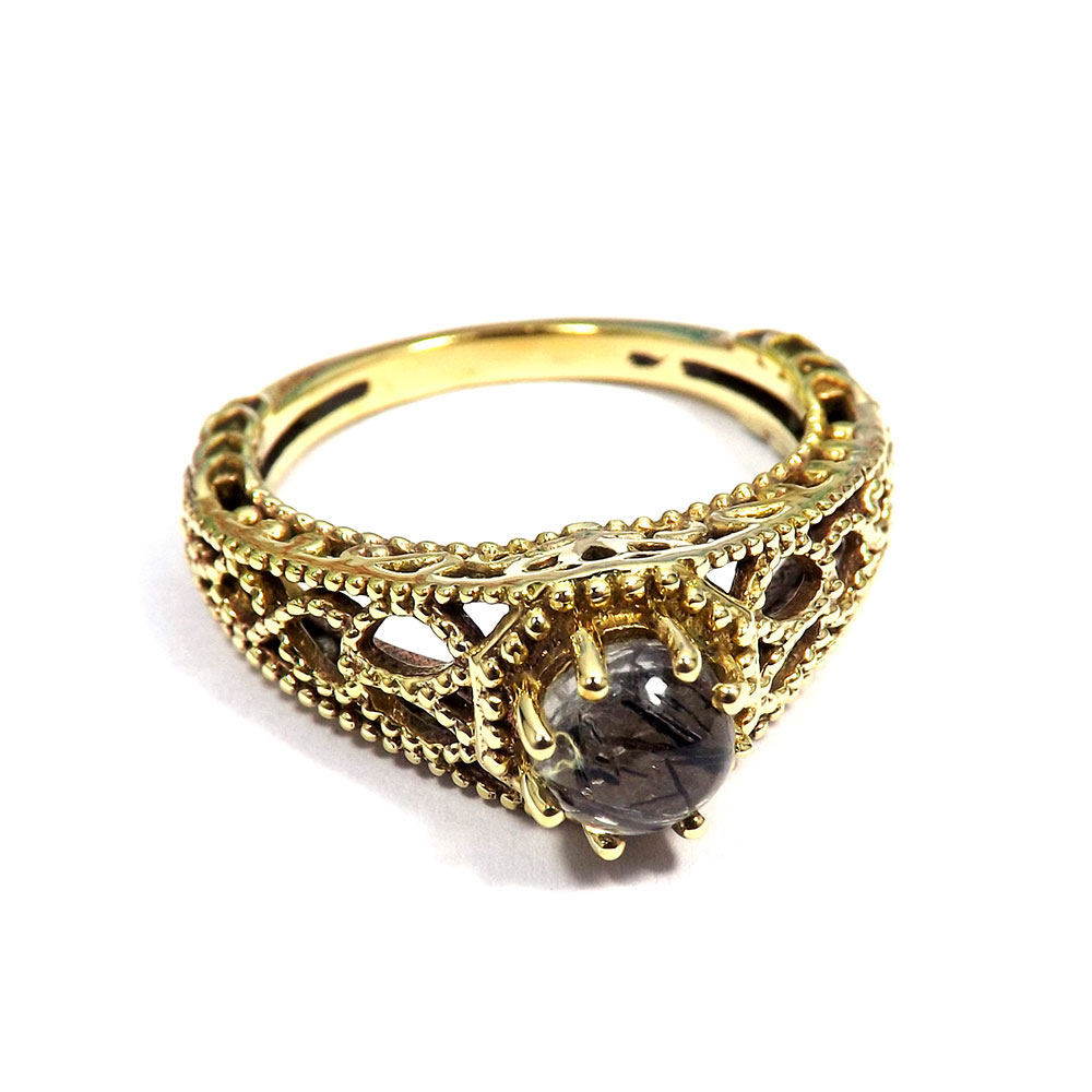 Black Rutile - J CBR968 - Natural Black Rutile Cabochon Gemstone Brass Gold Plated Designer Casting Ring
