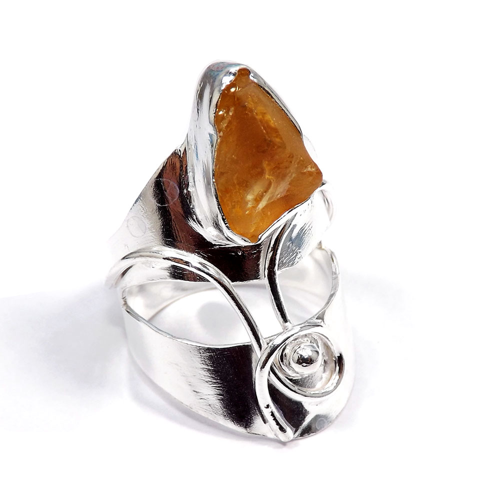 Citrine Rough Stone - D HR976 - Gorgeous Rough Gemstone Silver Plated Brass Designer Long Ring