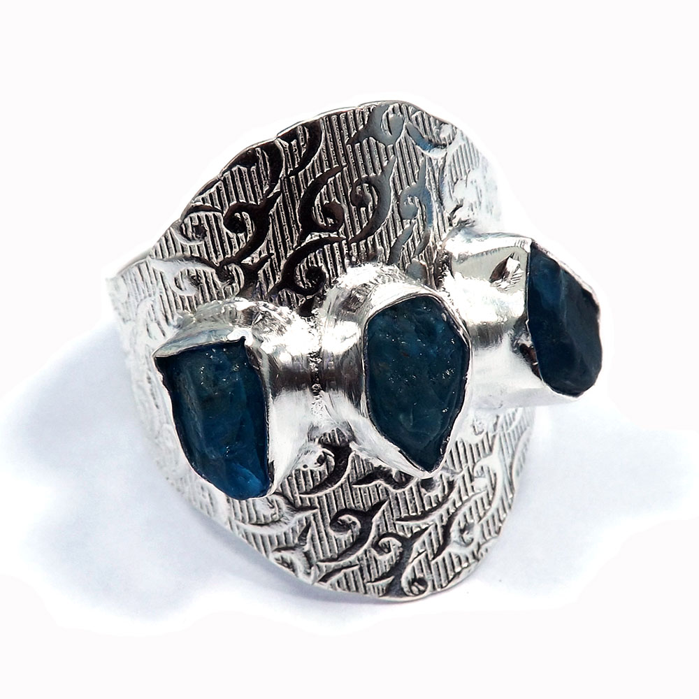 Apatite Rough - E HR976 - Indian Company Made Brass Silver Plated Three Stone Designer Ring