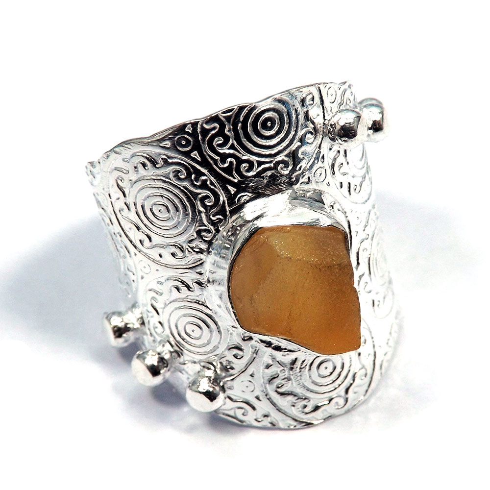 Citrine Rough - F HR976 - Natural Citrine Rough Stone Made In Brass Silver Plated Long Ring