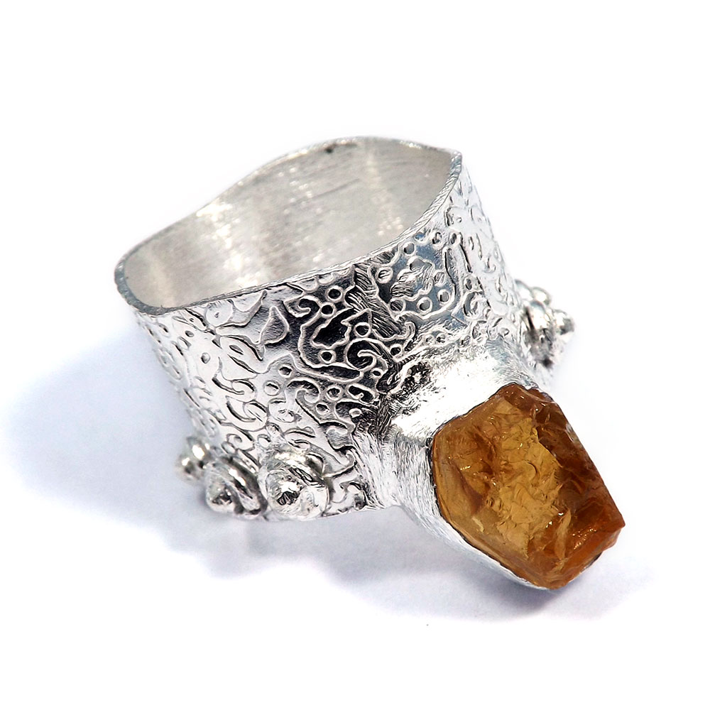 Citrine Rough - O HR976 - Natural Citrine Rough Stone Brass Silver Plated Designer Ring