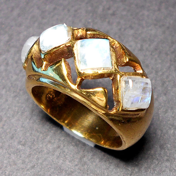 Rainbow H - BSR009-Faceted gems Designer Ring with Brass