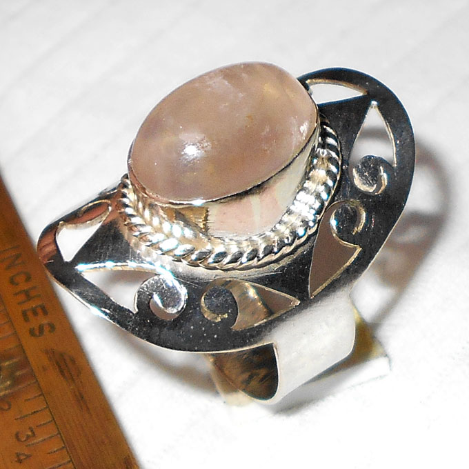 Rose quartz B - BMR991-Handmade Fashion Designer Rings with german silver wholes