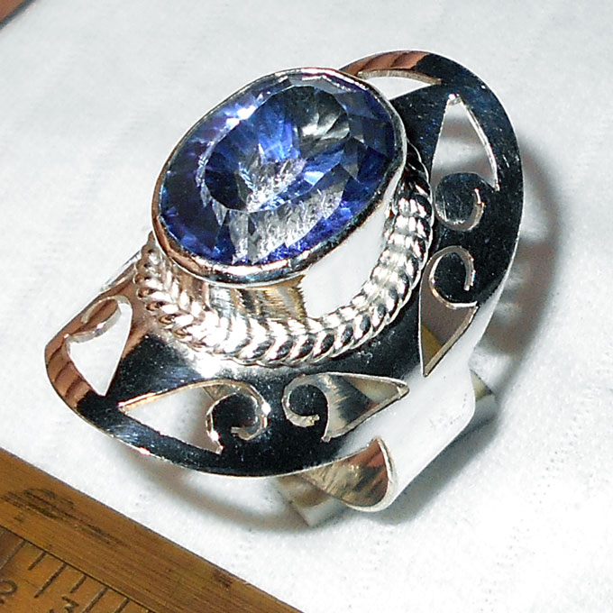 Blue Mystic F - BMR991-Handmade Fashion Designer Rings with german silver wholes