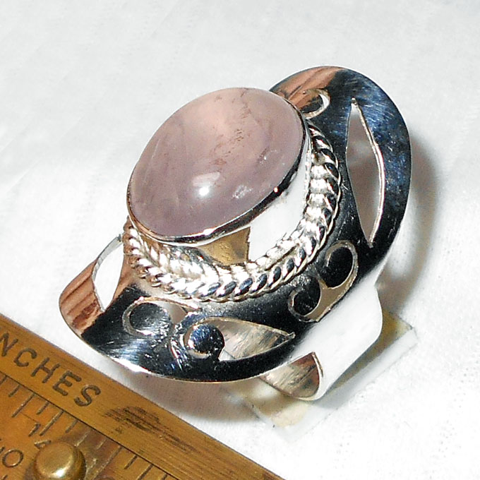 Rose quartz C - BMR992- Ultimate Fashion Trend Rings with silver plating german