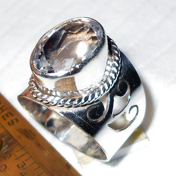 Crystal cut D - BMR990- Cabochon Fashion style silver Plating german silver Ring