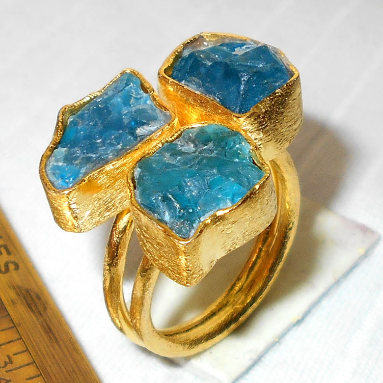 Apatite Ring A - RBJ998-Fabulous fashion Rings with gold vermeil matte finish