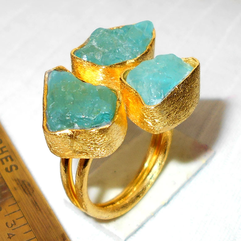 Apatite Ring O - RBJ998-Fabulous fashion Rings with gold vermeil matte finish