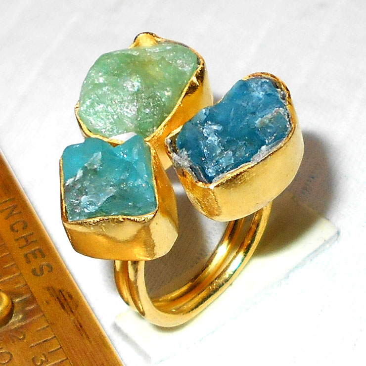 Apatite, Aqua O - RBJ992-Latest Fashion Rings with gold plated over Brass Rings wh