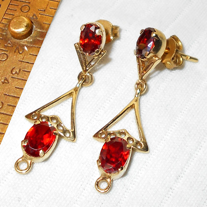 Red Cz Cut O Bse987 Virgin Fashion Costume Earrings With Gold Plated Over Br