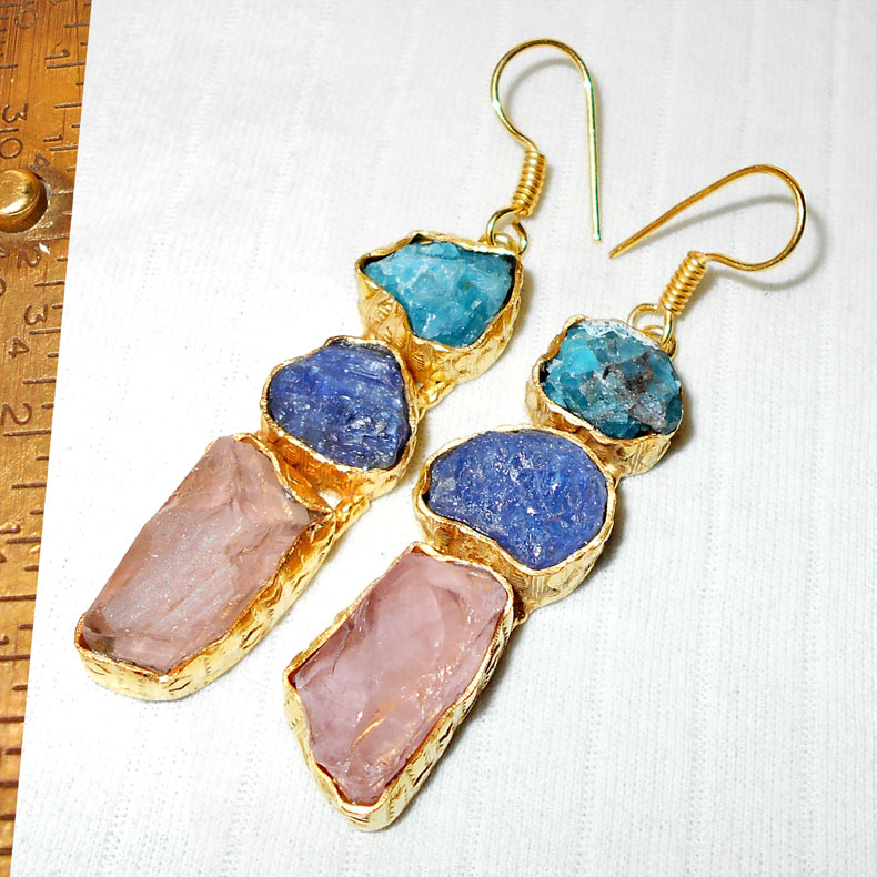 Aqua, Tanzanite, Rose quartz D - RBJ967-Gold vermeil fashion costume Earrings wholesale