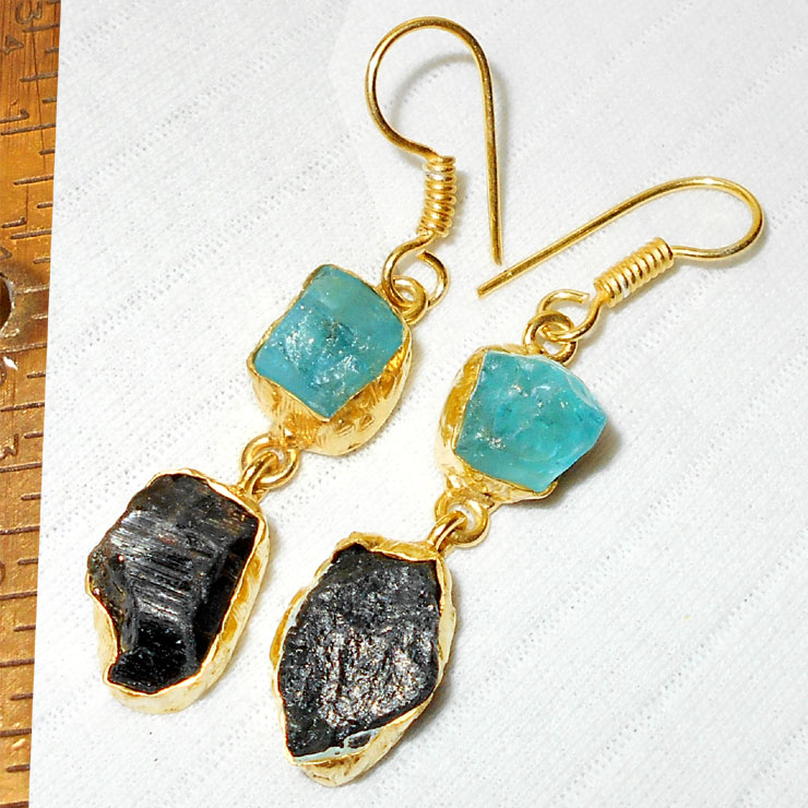 Apatite, Black Drusy A - RBJ965- Gold Vermeil fashion Earrings with brass metal