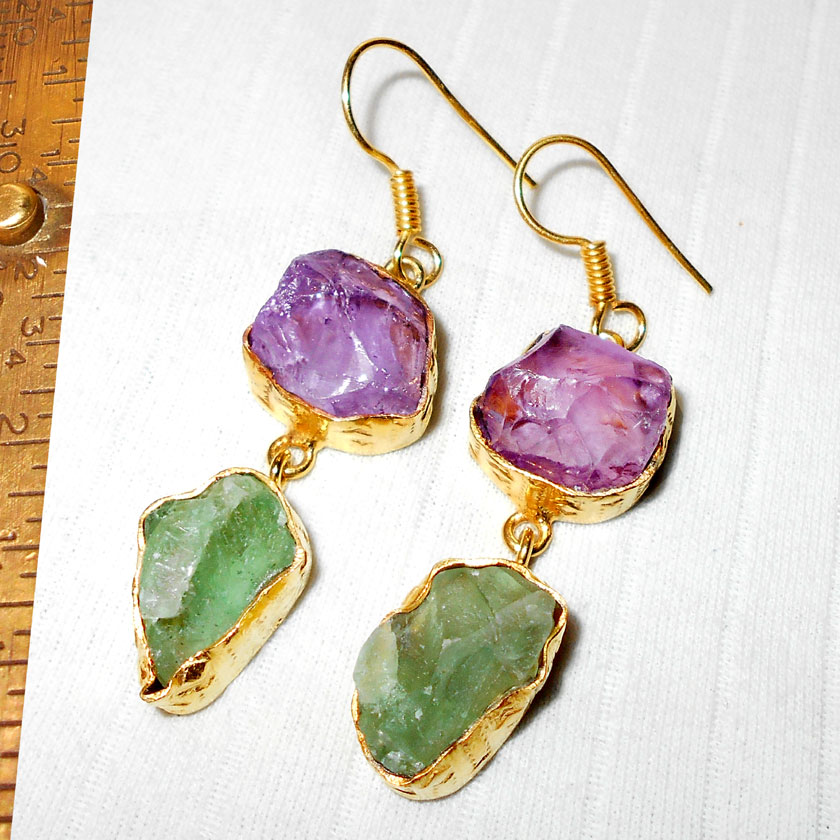 Amethyst, Green Amethyst C - RBJ965- Gold Vermeil fashion Earrings with brass metal