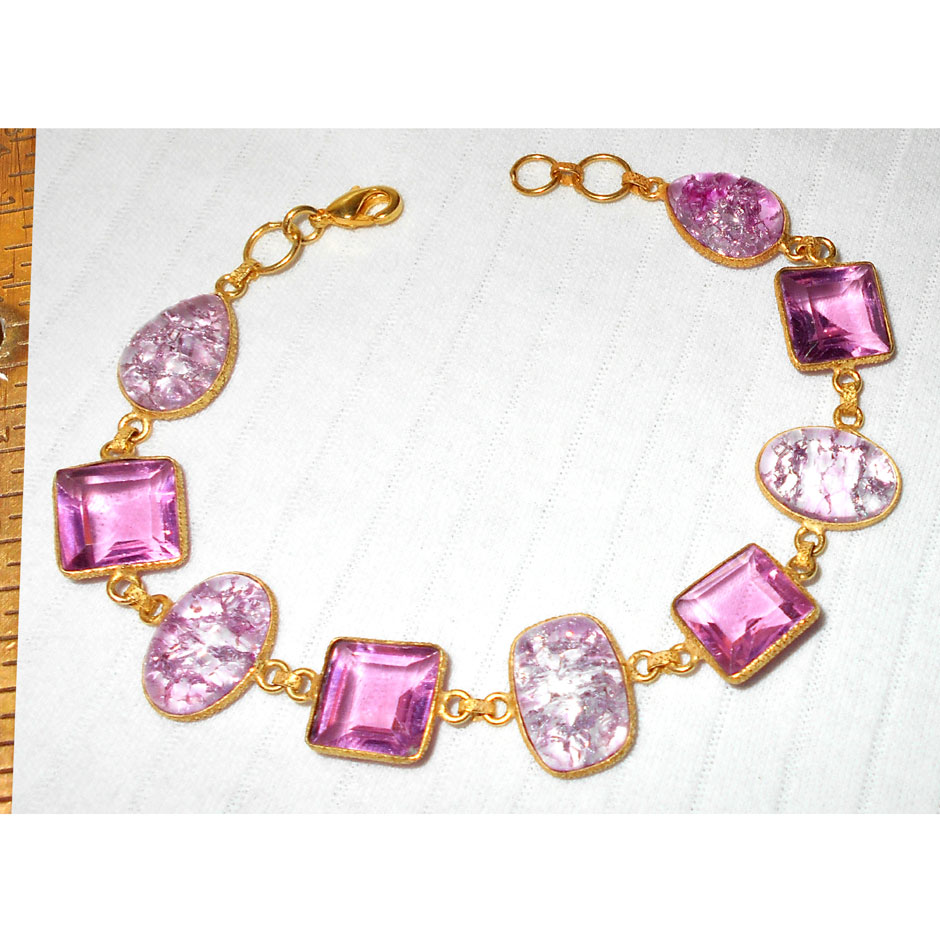 Pink CZ, Snake skin Jasper C - BJB993-Gorgeous Bezel Bracelets with gold plated over Brass whol