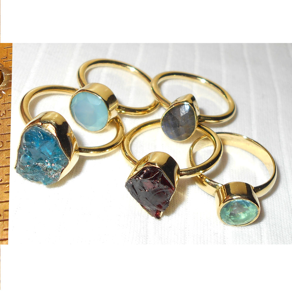 Apatite, Garnet, Labradorite, Hydro B - BVP983- Wholesale combo value pack of 5 Rings Costume Rings