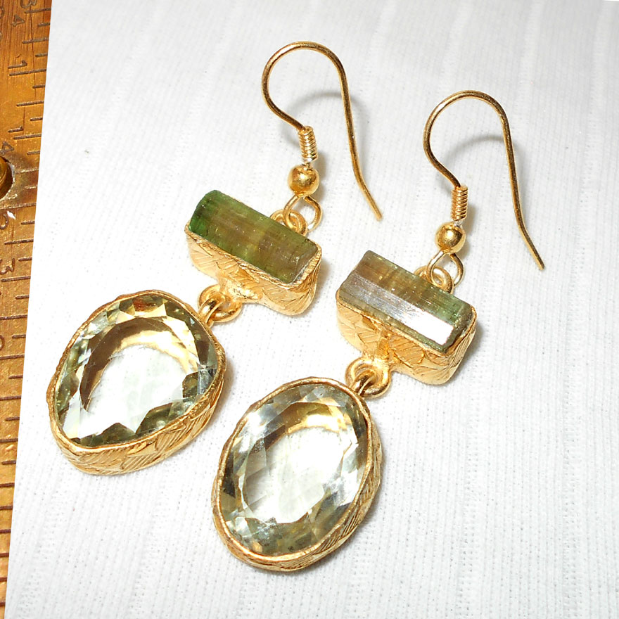 Green Amethyst, Tourmaline O - RBE999-Wholesale costume fashion Imitation Earrings with Brass